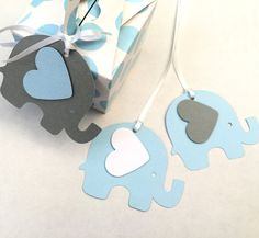 Blue & Gray Elephant Baby Shower gift tags. Baby boy, gender reveal. Light blue, grey & white baby shower theme. For by MyPaperPlanet