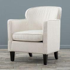Luvaugn Beige Geometric Pattern Fabric Club Chair