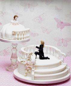 Marzipan cake * wedding - stairs and balcony ♥ - Kuchen - Gateau Unusual Wedding Cakes, Elegant Wedding Cakes, Beautiful Wedding Cakes, Wedding Cake Designs, Beautiful Cakes, Amazing Cakes, Cake Wedding, Dream Wedding, Engagement Cake Design