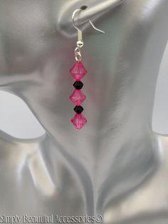 Pretty Fushia Black Bicone Bead Ladies Pierced Dangle Earrings. Weddings Brides