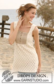"""DROPS 118-22 - Knitted DROPS Tunic in """"Safran"""" with crochet yoke in """"Cotton Viscose"""". Size XS - XXXL - Free pattern by DROPS Design"""