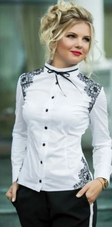 Such a sweet and elegant little blouse. The lace inserts and ribbon are perfect. An impressive look. Grey Fashion, Work Fashion, Hijab Fashion, Fashion Beauty, Fashion Dresses, Womens Fashion, Fashion Design, Fashion Shirts, Blouse Styles