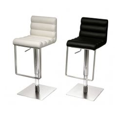 Riva Contemporary Bar Stool with Ribbed Leather Upholstery by Danform Modern Wood Furniture, Italian Furniture, Boat Interior, Home Interior Design, Bar Stools Uk, White Leather Bar Stools, Contemporary Bar Stools, Danish Design, Beautiful Interiors