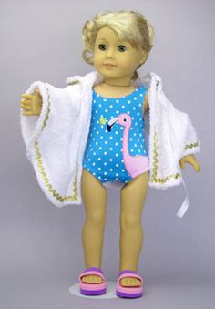 New swimsuit for American Girl and other 18 inch Dolls features a flamingo applique