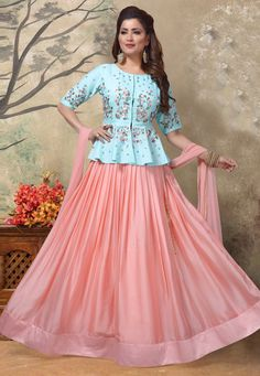 Pink Art Silk Readymade Lehenga Choli With Peplum 192894 - Lehenga Choli Designs, Choli Blouse Design, Saree Blouse Designs, Sharara Designs, Half Saree Designs, Fancy Blouse Designs, Dress Neck Designs, Designer Party Wear Dresses, Kurti Designs Party Wear