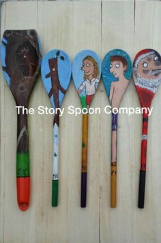 STORY SPOONS: Stickman Autumn Activities, Book Activities, Preschool Activities, Wooden Spoon Crafts, Wooden Spoons, Painted Spoons, Reading Display, Picture Story Books, Story Sack