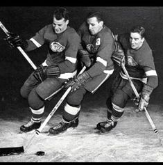 """""""The Production Line""""- Red Wings - Those Fabulous 50s! Detroit Hockey, Detroit Sports, Detroit Red Wings, Production Line, Hockey Players, Ice Hockey, Nhl, Gallery, Classic"""