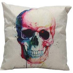 watercolor skull pillow