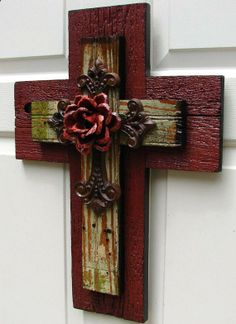 Painted Cedar Wood Rose | ... Rustic Cedar and Pink/Green Beadboard Stacked Cross with Orange Rose