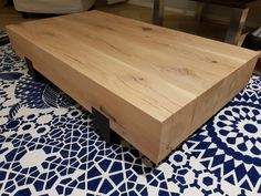Salontafel 150x75x35cm met massief eiken balken en stalen frame Kitchen, Table, Furniture, Home Decor, Cooking, Decoration Home, Room Decor, Kitchens, Tables
