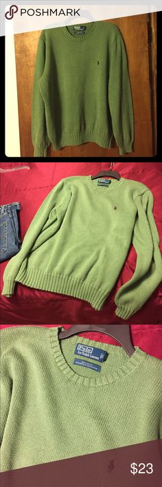 Polo by Ralph Lauren Men's Sweater Men's Polo by Ralph Lauren Green Sweater with classic brown pony. 100% cotton. Size XL. In very good used condition. No rips or stains. Polo by Ralph Lauren Sweaters Crewneck