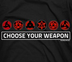 Sharingan choose your weapon Anime Naruto Uchiha by TheShirtDudes, $14.25 -Check out the fabric (research) -I usually wear a small but if you find out the fabric/brand runs small I would get a Medium just to be safe.