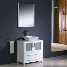 Fresca Bari White Vessel Single Sink Bathroom Vanity with Ceramic Top (Faucet Included) (Common: 30-in x 18-in; Actual: 30-in x 18.13-in)