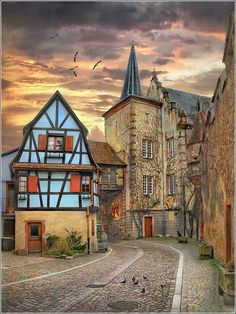 The Blue House - Alsace, France. I visited Alsace many years ago. Places Around The World, The Places Youll Go, Places To See, Around The Worlds, Medieval Village, Vila Medieval, Beautiful World, Beautiful Places, Amazing Places