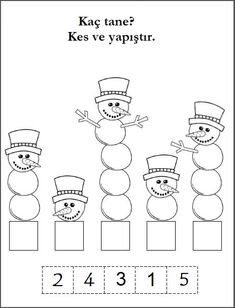 Silly Snowman Math Numbers Worksheet - Madebyteachers Free winter math worksheet for number recognition practice. Count the snowballs in each snowman, then cut and paste the number that matches. Find more winter math worksheets for Kindergarten an Numbers Preschool, Math Numbers, Preschool Learning, January Preschool Themes, Teaching Numbers, Writing Numbers, Preschool Printables, Student Learning, Kindergarten Math Worksheets