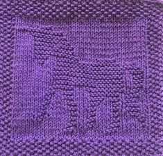 free knitting pattern for unicorn washcloth or afghan square. Lots of other free knitting patterns too - animals, letters, numbers Knitted Squares Pattern, Knitted Dishcloth Patterns Free, Knitting Squares, Knitted Washcloths, Knit Dishcloth, Baby Knitting Patterns, Knitted Blankets, Loom Knitting, Free Knitting