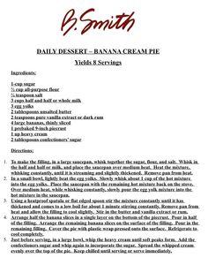 DAILY DESSERT – BANANA CREAM PIE