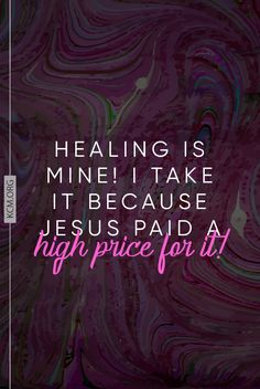 Jesus paid the price so we can be completely and totally healed.