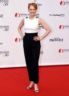 Actress Marg Helgenberger wearing an ESCADA jumpsuit from the Spring/Summer 2016 collection at the Monte-Carlo TV Festival on June, 12th 2016