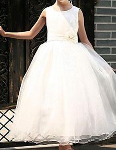 Flower Girl Dress Floor-length Satin/Tulle Ball Gown/Princess Sleeveless Dress