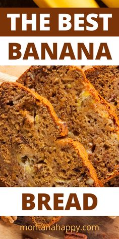If you're looking for an easy, moist, and delicious banana bread recipe - you've found it! Over ripe bananas, sugar, eggs, vanilla, flour, baking soda, and pecans are the ingredients for making the best banana bread recipe. Slather on some butter on your banana bread slice and dust with confectioners sugar, and you have a slice of heaven. #bananabread #bestbananabread