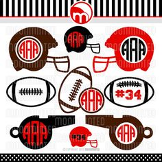 Football SVG Cut Files - Monogram Frames for Vinyl Cutters, Screen Printing, Silhouette, Die Cut Machines, & More