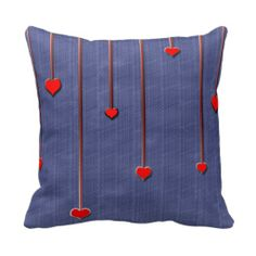 Hanging Hearts Valentine's Throw Pillow