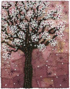 Blossoms on Pink | by Kirsten Chursinoff; wow, her work has it all! Quilting, embroidery, beads!! I'm in Heaven!! Lk