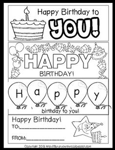 Classroom Freebies Too: Printable Birthday Bookmarks to Color