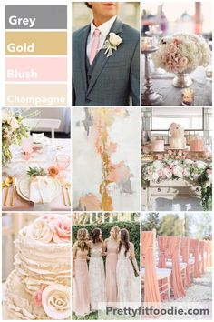 Wedding Colors of Grey, Gold, Blush, and Champagne
