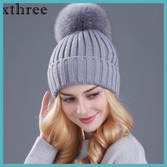 Xthree  real fox fur pom poms ball Keep warm winter hat for women girl 09bfc9c0fa8