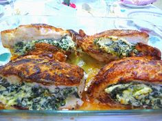 """SPLENDID LOW-CARBING BY JENNIFER ELOFF: """"BREADED"""" CHICKEN STUFFED WITH SPINACH, FETA AND CREAM CHEESE"""