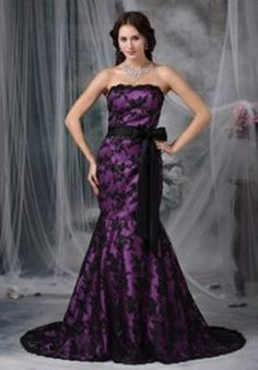 purple wedding dress  Purple And Black Wedding Dresses Black Lace ...