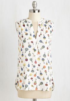 Montgolfier for the Day Tank Top - Mid-length, White, Multi, Print, Casual, Sleeveless, Summer, Winter, Colorsplash