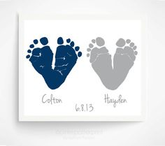Twin Gift  Baby Footprint Navy Gray - Gift for New Dad , Grandparents - Twin Baby Shower Gift -  Twin Nursery Decor Kids Wall Art
