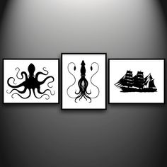Octopus, Squid, and Ship at papercutsbyjoe on Etsy