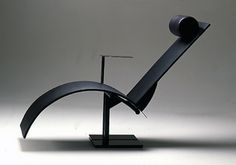 Martin Szekely / Deckchair Pi - Neotu Edition / 1983 / Black Matel, Leather / Courtesy Galery Mouvements Modernes