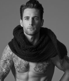 oversize scarf and tattoos