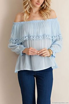 673437de562879 Off the Shoulder Flowy Overlay Top-Blue. Off Shoulder TopsBlue LaceTrending  OutfitsTunic ...
