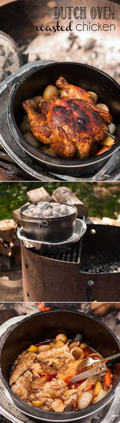 Nothing beats a good hot dog by the campfire, but sometimes a complete main cour. Nothing beats a good hot dog by the campfire, but sometimes a complete main course like this mouthwatering Dutch Oven Roasted Chicken just hits the spot. Dutch Oven Cooking, Fire Cooking, Cast Iron Cooking, Dutch Ovens, Outdoor Cooking, Skillet Cooking, Cooking Turkey, Dutch Oven Roast Chicken, Roast Chicken Recipes