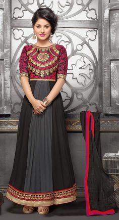 Black,Gray and Pink color Long Length Anarkali-Georgette Salwar Kameez