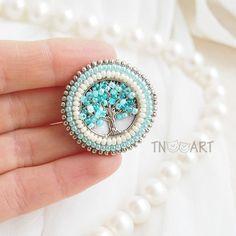 Spring Tree Embroidered Brooch handmade elegant jewelry seed
