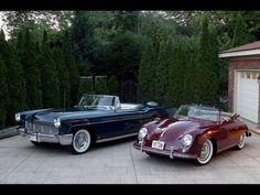 1956 Lincoln Continental Mark II Convertible and a 1955 Porsche 356 Continental Cabriolet.