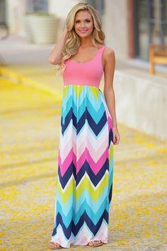 Neon Lights Maxi Dress - Coral