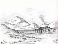 Landscape Drawing Easy, Landscape Design Small, Landscape Sketch, Mountain Sketch, Mountain Drawing, Colorful Drawings, Easy Drawings, Pencil Drawings, You Draw