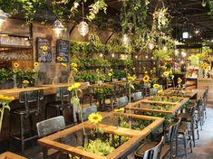 「Aoyama Flower Market TEA HOUSE」 Green Cafe, Flower Bar, Coffee Shop Design, Home Renovation, Shop Interior Design, Cafe Interior, Cafe Design, Stone Interior, Restaurant Concept