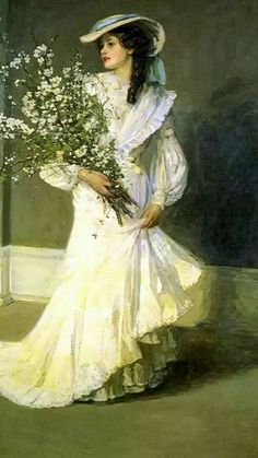 Lady with flowers: by Sir John Lavery.(b.1856)- - Spring,Il