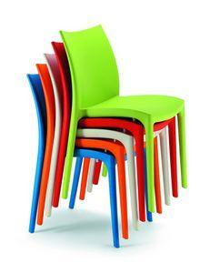064-ZIP, Sedia impilabile in materiale plastico di vari colori