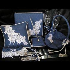 denim wedding ring pillow, garter etc