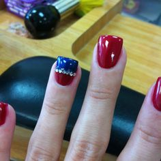 Fourth of July nails! Blue And Silver Nails, Blue Nails, White Nails, Glitter Nails, Usa Nails, 4th Of July Nails, July 4th, Patriotic Nails, Manicure And Pedicure